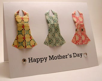 CLEARANCE Origami Dress Mother's Day Card (yellow blue pink)