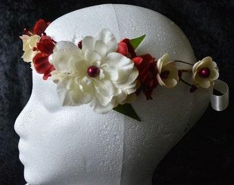 Christmas Flower Crown, Bridal Flower Crown, Flower Girl Headband,  Christmas Headpiece, Ivory Flower Crown, Red Flower Crown, Holiday Crown