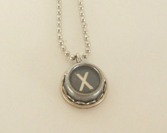 SALE Typewriter Key Necklace -  Letter X - Vintage - Initial Jewelry -  ALL Letters Available - Typography Jewelry