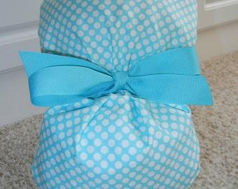 Turn Up Ponytail Scrub Hat in Turquoise Blue White Polka Dot