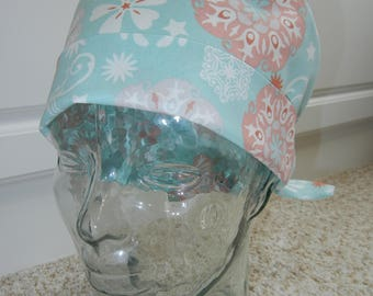 Tie Back Surgical Scrub Hat with Powder Blue Medallion