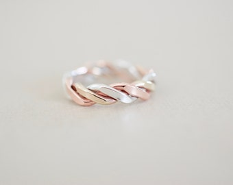 Twisted Ring - Mixed Metals Ring - Sterling Copper Brass Twisted Ring