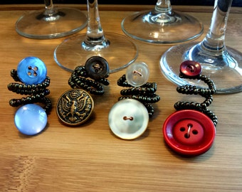 handmade upscale wine glass charms set party favor hostess gift with vintage repurposed buttons glass beads and copper