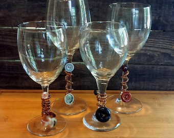 handmade beaded wine charms set with vintage buttons for entertaining party favors or housewarming or hostess gift