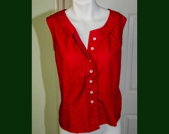 Vintage Red Cotton Rockabilly Woman's Sleeveless Shirt