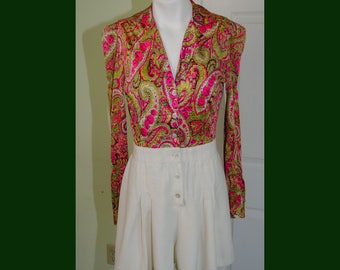 1970's Jumpsuit Romper Shorts with Paisely Print Top