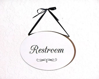Oval Wall Plaque, Restroom Hanging Sign,  Wooden Home Decor, Modern Country Cottage, Office Bathroom Decor, Bath Spa Door Hanging Signage