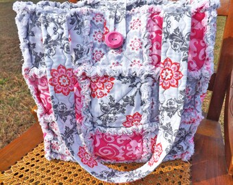 Rag Quilt Tote - Gray and Pink - Flourishes and Flowers - Quilted Purse - Rag Quilt Handbag - Handmade Tote