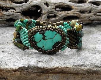 Free Form Peyote Stitch Beaded Bracelet Beaded Cuff - Beaded Cabochon - Bead Weaving  - TURQUOISE - BOHO