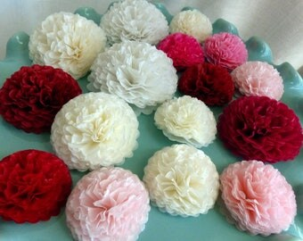 Pink Button Mums Tissue Paper Flowers, Small Paper Flowers, Wedding Flowers, Shower Decorations, Red Flowers, White Cream Flowers