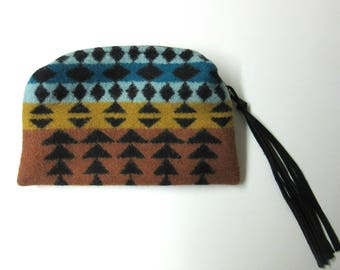 Wool Zippered Pouch Coin Purse Change Purse Accessory Organizer Southwest Style