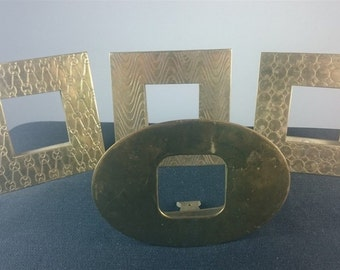 Vintage Art Deco Set of 4 Brass Picture or Photo Frames  1930's - 1940's