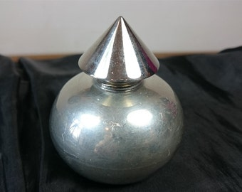 Vintage Silver Plated Perfume Bottle Hand Crafted Sheffield England Art Deco Atomic Metal