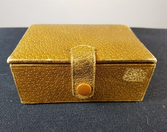 Vintage Brown Leather and Velvet Travel Jewelry or Trinket Storage Case Box 1950's