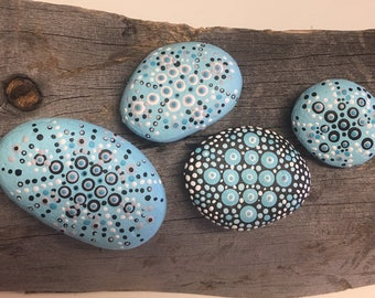 Dot Art Painted Rocks - Group Of 4 - Folk Art - 4 Stones - Beaches - Sky Blue - Paperweight Display Art