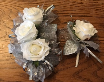 All Silver White Rose Corsage Set (Artificial Flowers)