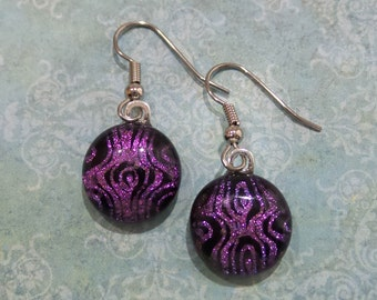 Pink Dichroic Earrings, Pink and Black Dangle Earrings, Hypoallergenic Earring, Fused Glass Jewelry, Ready to Ship - Susie  - 6