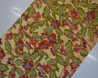 Bold Karakusa Floral Arabesque in Dark and Persimmon Reds with Warm Olive Green, Batik-Look Silk Japanese Vintage Kimono Fabric BTY