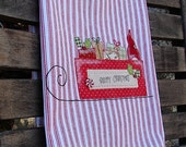 Holiday Applique Kitchen Dish Towel Country Christmas Decor Primitive Santa Sleigh Vintage Postcard Style Cotton Red White Pillow Ticking