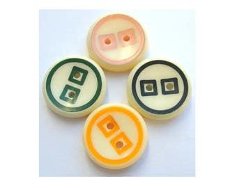 24 Vintage buttons, 4 colors, plastic buttons, 20mm, unique