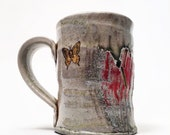 wood fired cup with cattails and cardinals