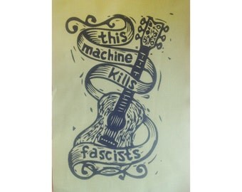 Sew On Patch, Large Guitar Woody Guthrie, This Machine Kills Fascists, Americana Folk Punk Patch