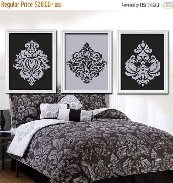 Gray Black Wall Art Bedroom Pictures CANVAS Or Prints By