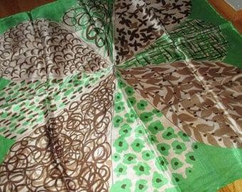Vintage MOD 60s Christian Paris Green and Brown Flower Motif Silk Scarf