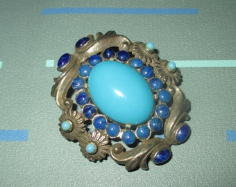 Vintage FAB Aqua and Royal Blue Glass Cabochon Scrolling Metal and Flower Pin