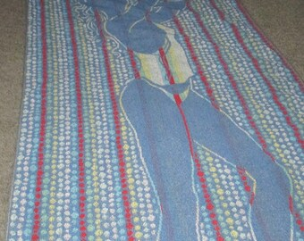 Vintage MOD Blue Bathing Beauty Lady Polka Dot Beach Towel