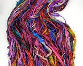 Sari Silk Ribbon, Recycled Silk Sari Ribbon, multi color Fuzzy ribbon, washed ribbon, weaving supply, rug supply, PLEASE READ GRADE B ribbon