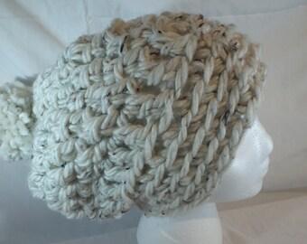 Slouchy Cream Beanie Crochet Hat Chuncky Beanie Hat Pom Pom Beanie