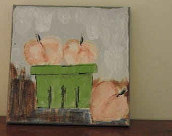 A basket of Summer Georgia Peaches - an Acrylic on Canvas Painting