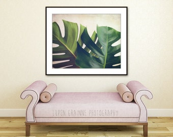 "Tropical wall art | dark green leaf print | vintage style tropical decor | pale pink beige tropical wall art ""Ceriman Leaves Four"""