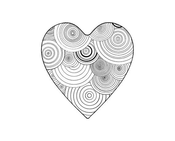 Articoli simili a pagina da colorare stampabili cuore di for Cuori grandi da stampare