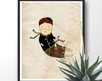 Zodiac Sign, Libra Digital Illustration, Libra Boy, Balance, Kid illustration, Boy Nursery Wall Decor