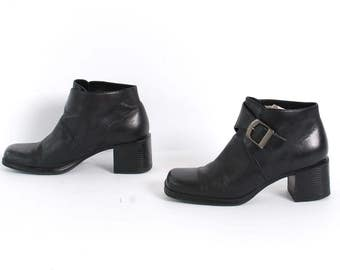 size 7.5 PLATFORM black leather 80s 90s CHUNKY buckle high heel ankle boots