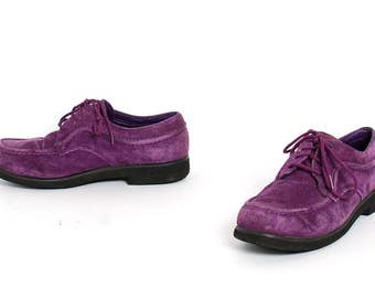 size 7.5 PURPLE suede leather 80s PLATFORM lace up ankle boots