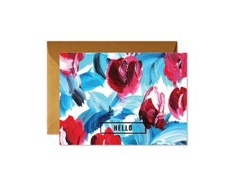 HELLO Floral Blue and Red Notes - Set (8)