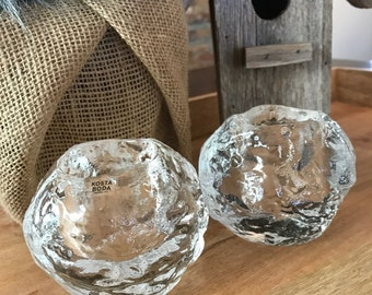 Set of Two Crystal Kosta Boda Votive Candleholders Large 3 3/4 inches Snowball Pattern with Sticker and Signed TYCAALAK
