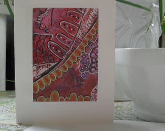 Pink and Gold Abstract Greeting Card ATC ACEO OOAK