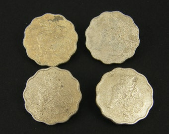 Coin Buttons, Asian Coin Buttons, Old Scalloped Edge Coins for Clasp Closure |CN1-1|2