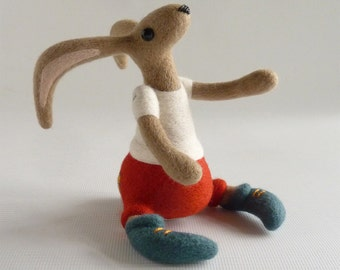 Needle felted hare, felted hare, hare doll, collectible hare, OOAK needle felt, brown hare, clothed hare, made by Gretel Parker