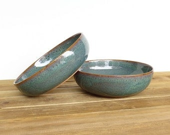 Ceramic Pasta Bowls in Sea Mist Glaze - Stoneware Pottery Bowls Set of 2