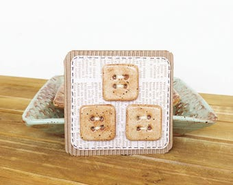 Large Square Rustic Stoneware Buttons in Speckled Tan - Set of 3