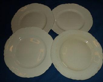 Four Vintage All White Dinner Plates
