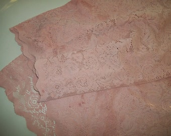 Hand Dyed Lace Curtain Panel ~ Pink Lace Curtain Panel ~  Annie Sloan Scandinavian Pink Lace