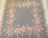 Vintage Cotton Tablecloth Gray with Peach and White Flowers 42X51 Cottage Kitchen Shabby Chic Kitchen Dining Room