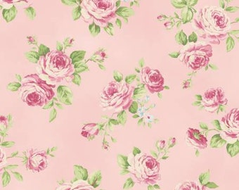 Ruru Bouquet Love Rose Love -Rose Fabric- Toss Pink- Quilt Gate -Cotton Fabric- By the yard-By the half yard.