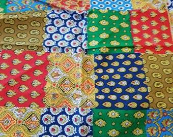 Vintage Set of 4 Groovy Cotton or cotton blend Napkins or Handkerchiefs